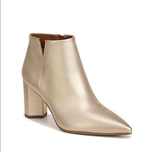 Franco Sarto gold pointed toe ankle boots
